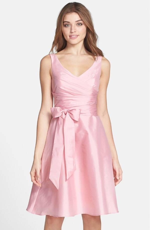 short pink bridesmaid dress
