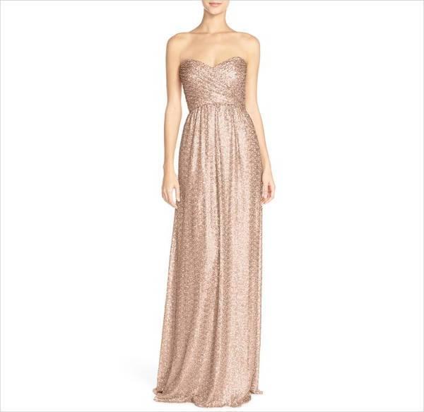 strapless sequin bridesmaid dress