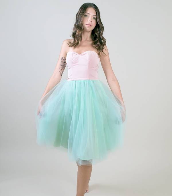 two tone strapless bridesmaid dress