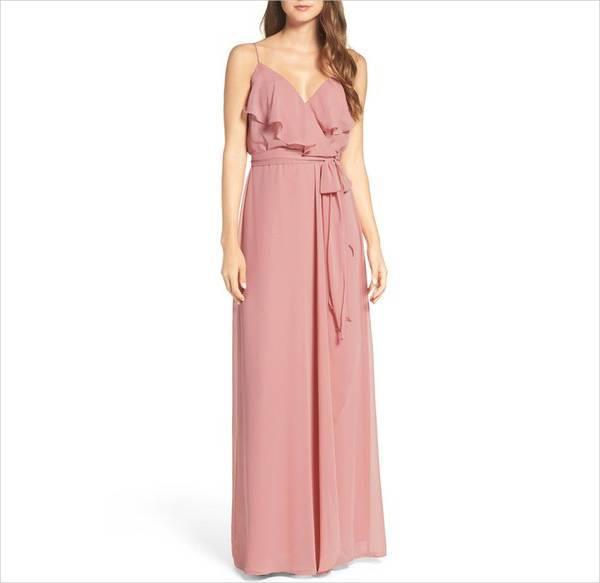 chiffon bridemaid wrap dress