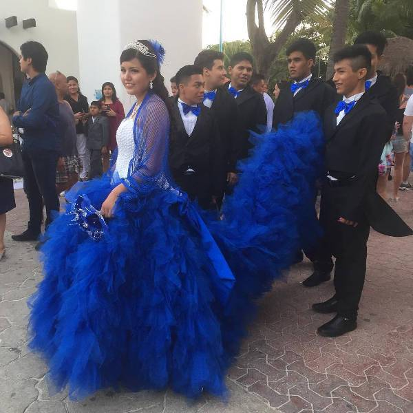 elegant royal blue quinceanera dress