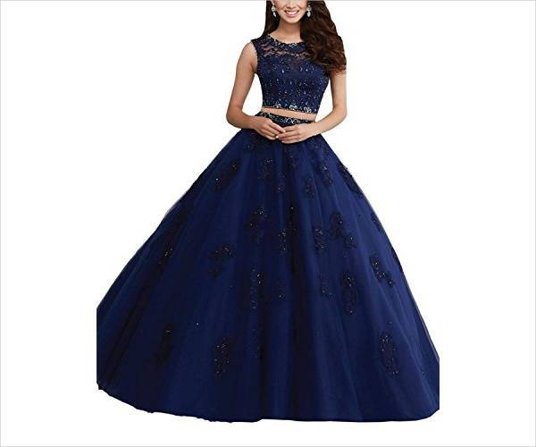 beaded two piece quinceanera dress