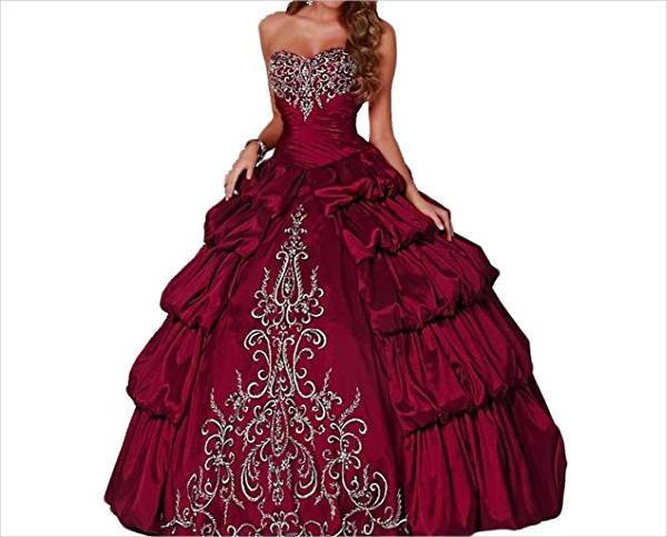 beautiful burgundy quinceanera dress