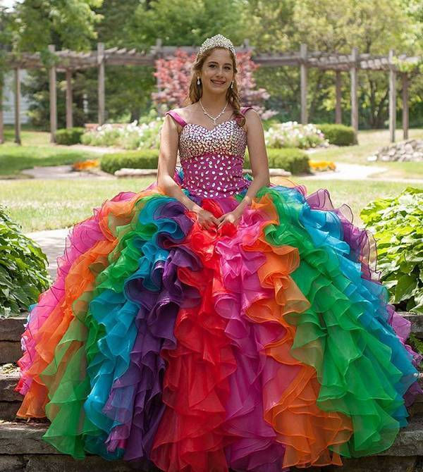 colorful quinceanera prom dress