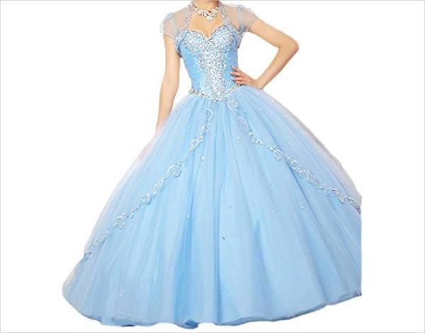 quinceanera blue court dress