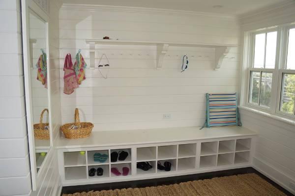 white shoe storage bench design