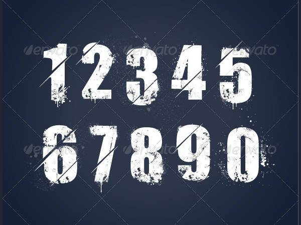 grunge graffiti number font