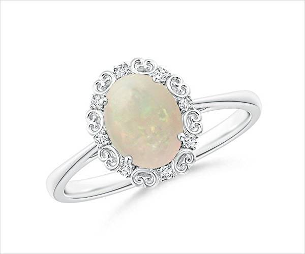 Vintage Style Opal Engagement Ring