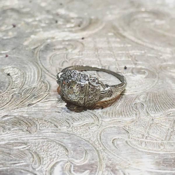 Vintage Platinum Engagement Ring