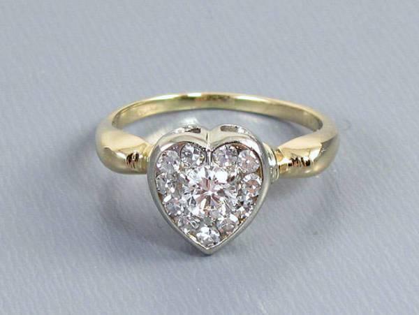 Antique Vintage Heart Engagement Ring