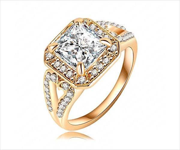 vintage gold square engagement ring