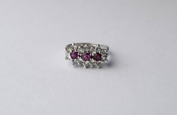three stone vintage silver engagement ring