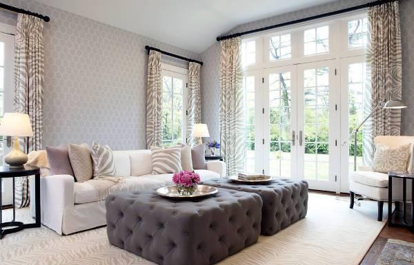 Attirant Living Room Tufted Ottoman Idea