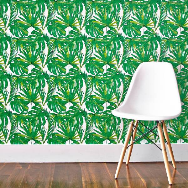 green leaf printed accent wall