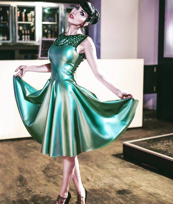 bright green latex gown