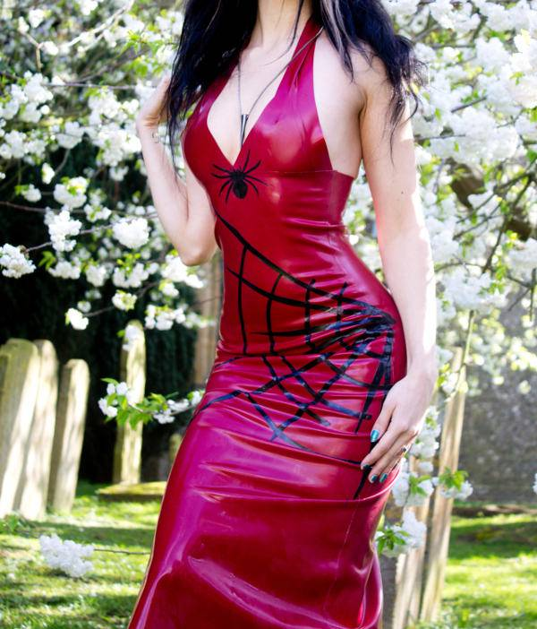 spider web print latex dress