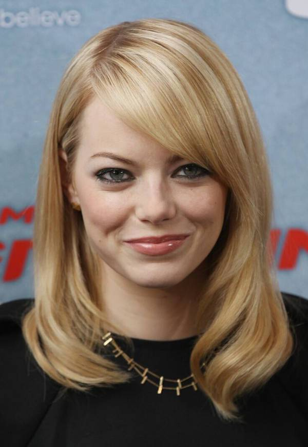emma stone medium haircuts for round faces