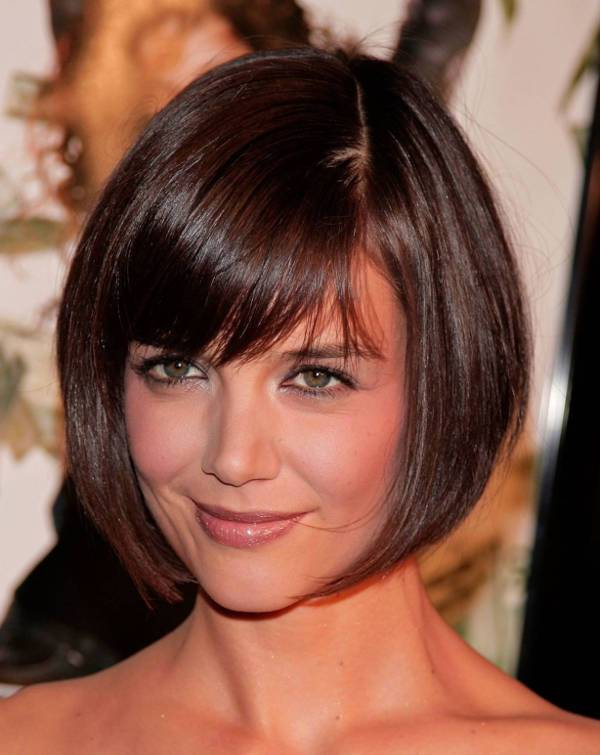 katie holmes bob hairstyles for round faces