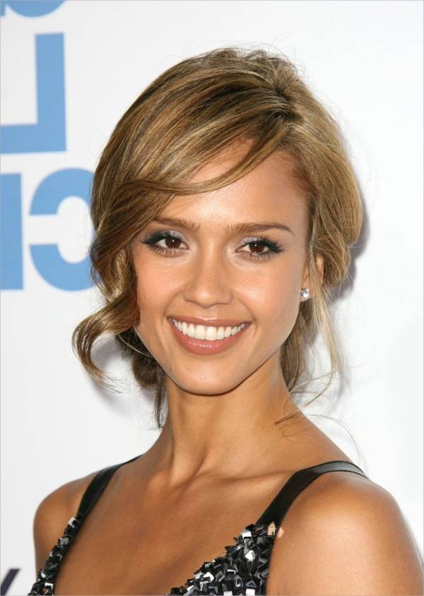 15 updo hairstyle designs ideas haircuts design trends jessica alba updo hairstyles with bangs pmusecretfo Image collections