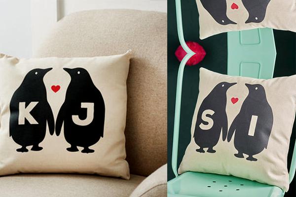 Personalised Penguin Love Canvas Cushion