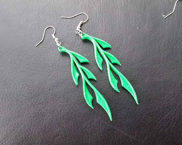 3d leaf shape earrings