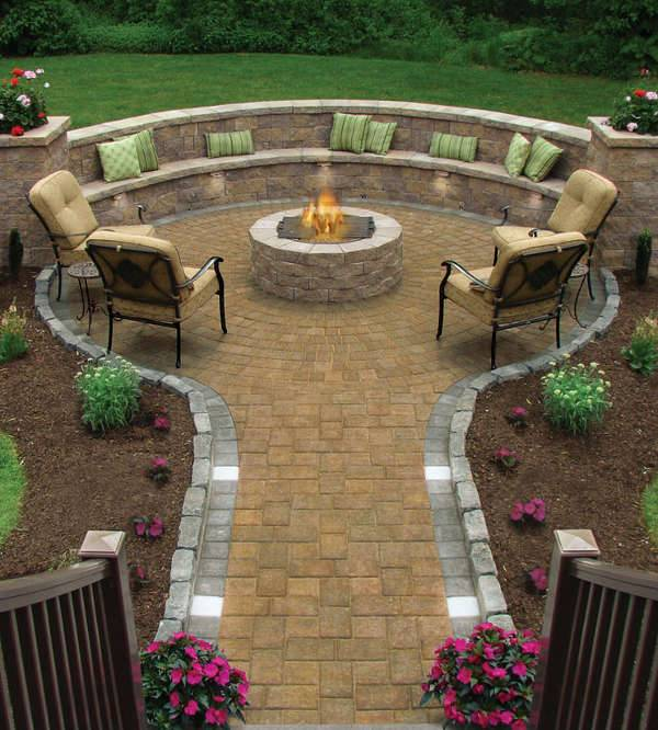 backyard patio design with fire pit