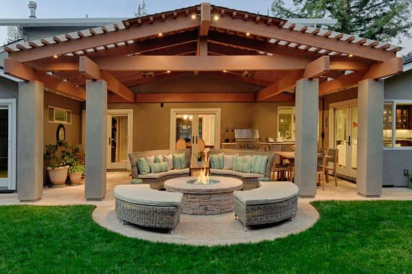 backyard wood patio idea
