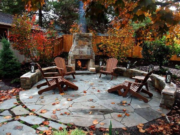 beautiful backyard stone patio