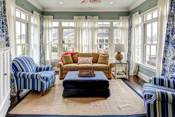 beautiful sunroom window treatment
