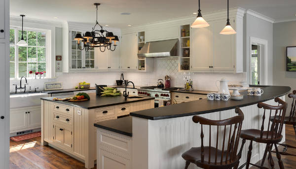 black concrete kitchen island countertop