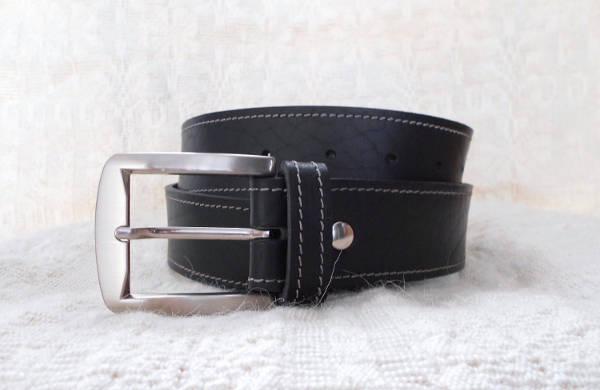 Black Designer Leather Belt for Men
