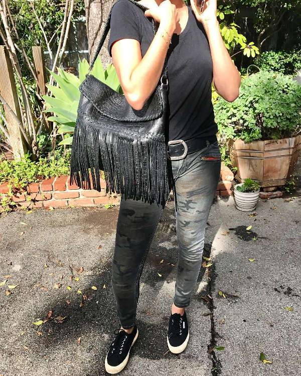 Black Leather Fringe Handbag