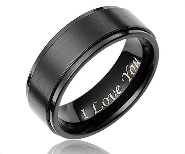 Black Titanium Wedding Ring for Men