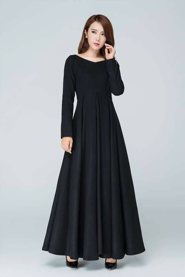 black winter prom dress