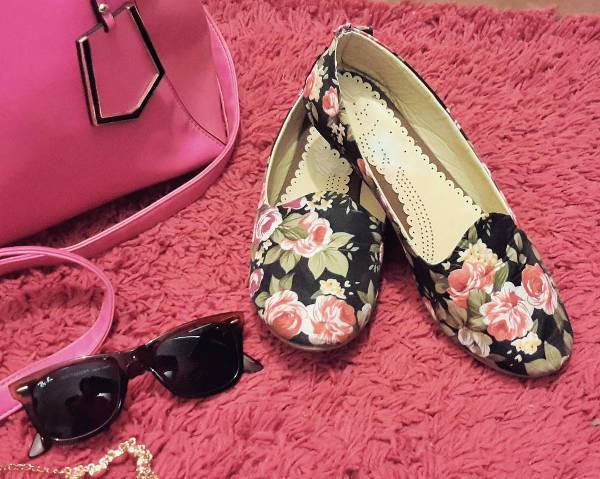 Black and Pink Floral Footwear Design