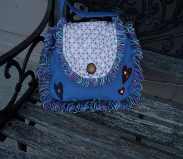 Blue Fringe Hobo Handbag