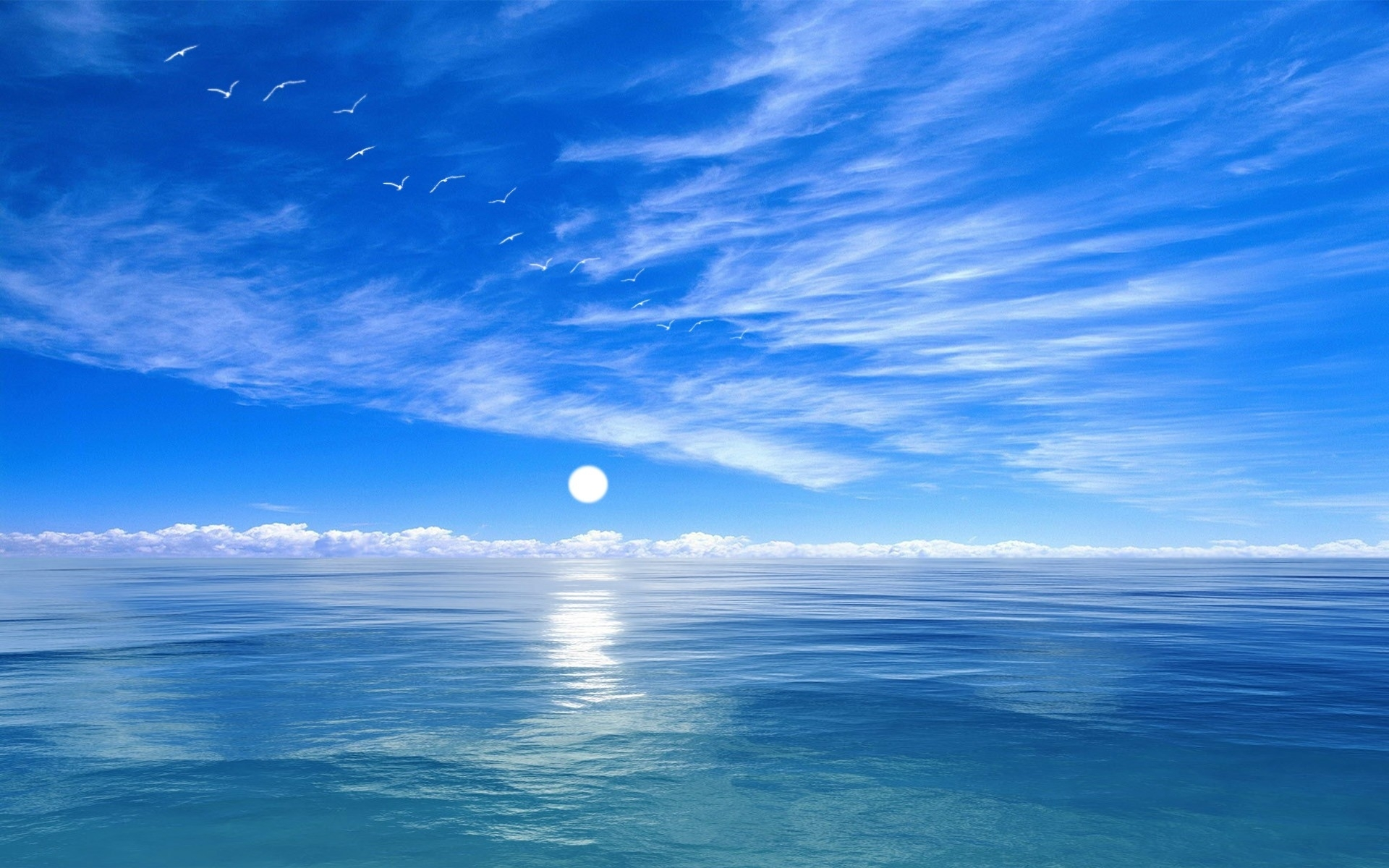 blue sky and ocean background hq