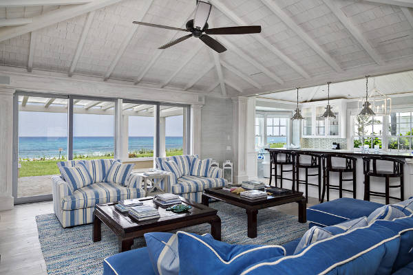 blue and white striped beach chairs