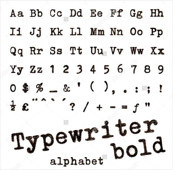 bold typewriter alphabet font