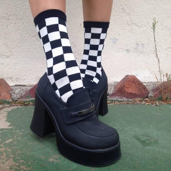 Checkered Trouser Socks for Women