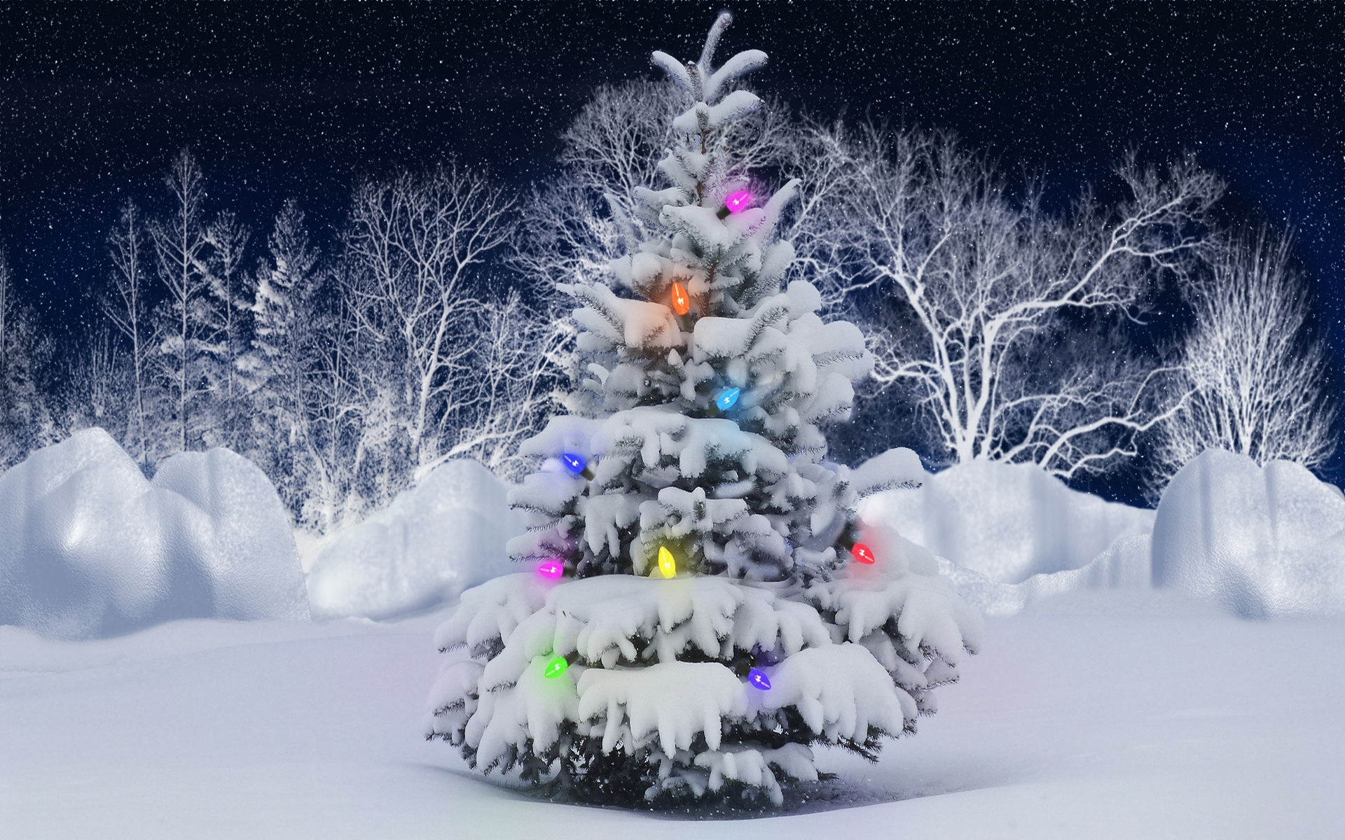 christmas tree snow wallpaper hq