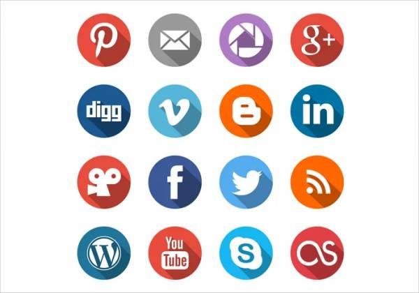 Circle Social Media Icons Vector Set