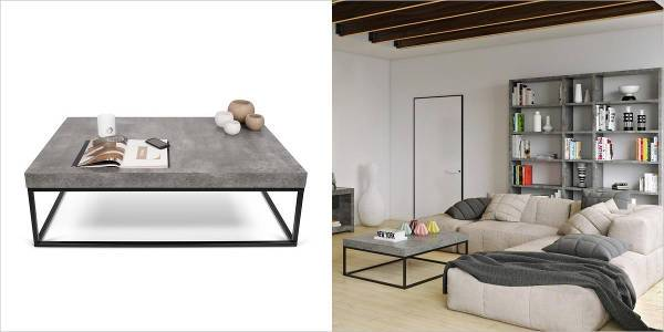 coffee table with faux concrete top