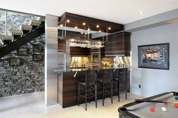 contemporary basement bar idea