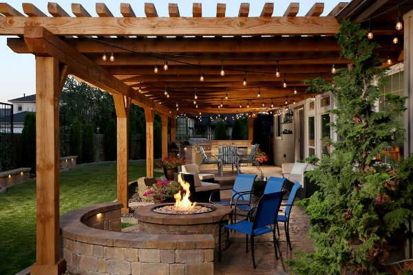 covered patio idea for backyard with fire place
