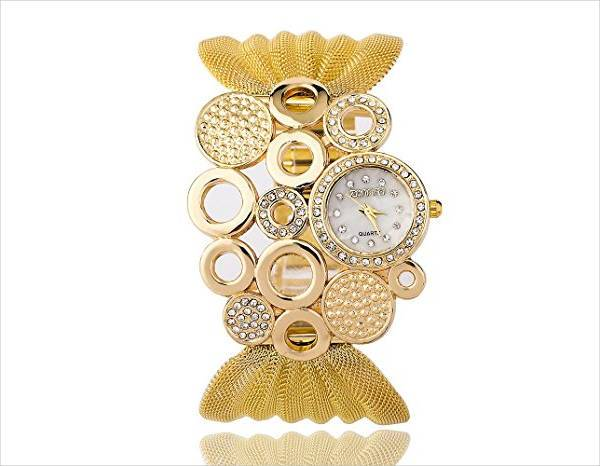 designer gold wrist watch for women