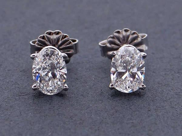 diamond oval cut stud earrings