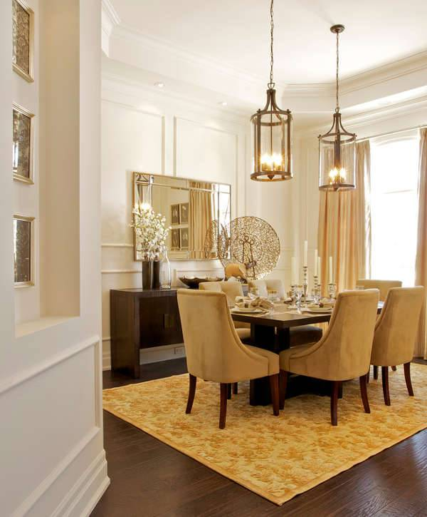 Dining Room Lantern Chandelier Design with Vanity