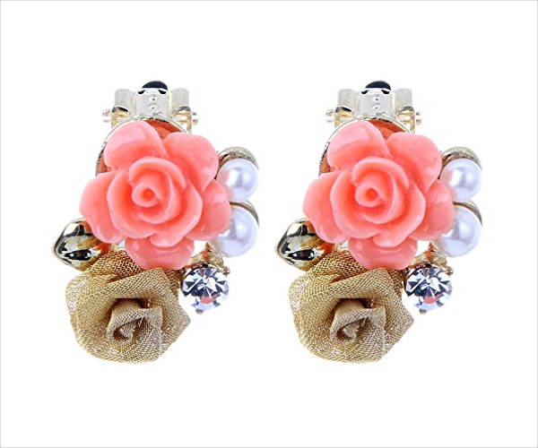 elegant flower clip on earrings