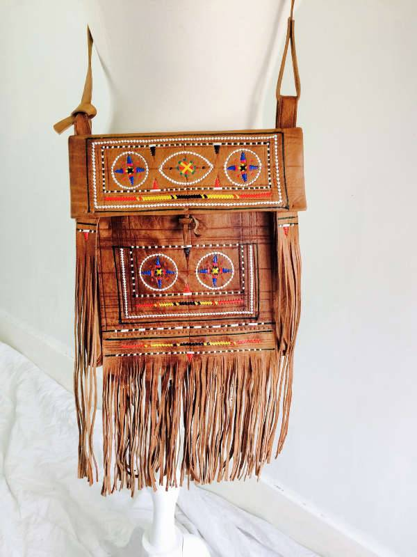 Embroidered Fringe Handbag